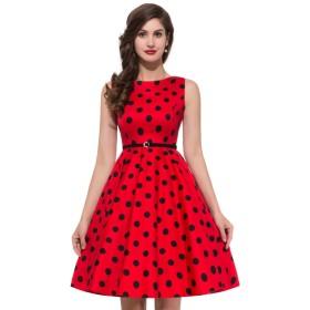 女性 袖なし クルーネック ドレス ベルト付き 水玉模様 コットン ワンピース #7 XL