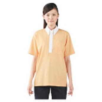 住商モンブラン ボタンダウンシャツ(男女兼用・半袖) オレンジ×白 3L 72-436(直送品)