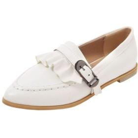 [Lydee] レディース ファッション フラット ブローグシューズ スリップオン ポインテッドトゥ 事務所 ドレス 靴 ラッフル折り コストーム White サイズ 34