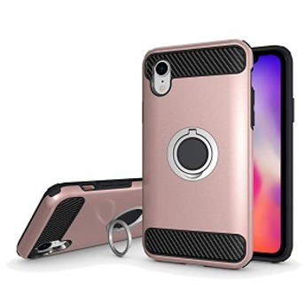 iPhone XR ケース リング スタンド 付き 耐衝撃 スマホケース アイフォンXR カバー 6.1インチ対応(ロースゴールド) 送料無料
