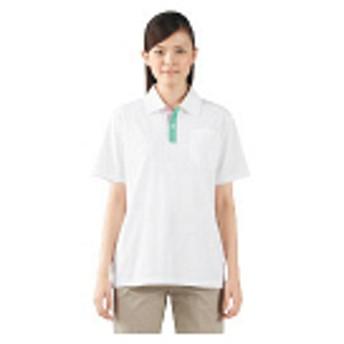 住商モンブラン ポロシャツ(男女兼用・半袖) 白×グリーン×ピンク LL 72-416(直送品)