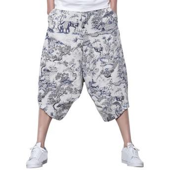 サルエルパンツ メンズ Fortan パンツ ワイドパンツ 綿麻生地 ガウチョパンツ メンズ 花柄 7分丈パンツ ハーフパンツ ゆったり サルエル 運動パンツ キレイめ サルエルハーフパンツ メンズ ワイドパンツ メンズ ショートパンツ