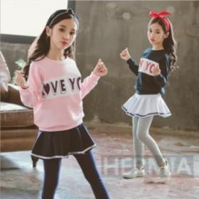 子供服 セットアップ 女の子  春秋 キッズ 可愛い  韓国風  スウェット キッズ ジュニア 洋服 カジュアル 可愛い お洒落