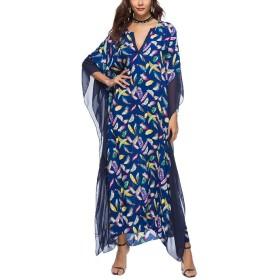 YiyiLai ボヘミア風 リゾート ドレス マキシ丈 ゆったり レディース セクシー ワンピース ロング ビーチウェア 薄手 ブルー 羽