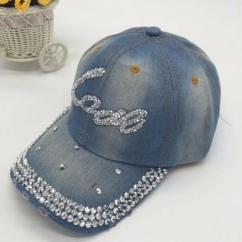 【SEBLES】レディース 帽子 キャップ キラキラ ラインストーン ダメージ加工 デニム 春 ブルーLoveD ワンサイズ