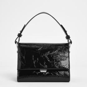 【2019 FALL 新作】キルト プッシュロッククロスボディバッグ / Quilted Push-Lock Crossbody Bag (Black Textured