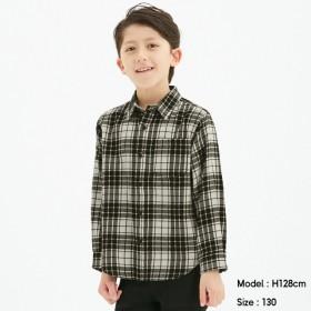 (GU)KIDS(男女兼用)フランネルチェックシャツ(長袖) OFF WHITE 130cm