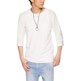 [ウィゴー] 【3点セット】 アクセ 付き アンサンブル ジャガード Tシャツ 7分袖 L ホワイト