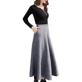 レディース ロングスカートAラインスカート 厚手 上品 フェミニン ロング丈のAラインウールスカート (M, グレー)