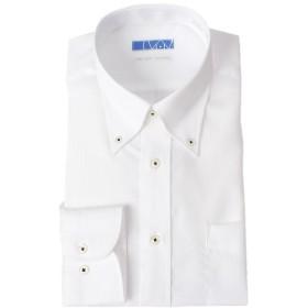 [ドレスコード101] スマシャツ 超形態安定 ノーアイロン メンズ 長袖 ワイシャツ 綿100% 【すっきりシルエット】スリム KWGL10 ボタンダウン×ホワイト(ブロード織りストライプ) 日本 首周り43裄丈86 (日本サイズ2L相当)