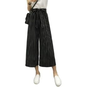 [マユヒナ] レディース ボトムス ワイド パンツ ズボン ゆったり ガウチョ リボン ベルト 付き 美脚 着やせ 美 シルエット 楽々 らくらく 体型 カバー (ストライプ)