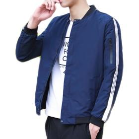 (コズーン)KO ZOON B56 ma-1 ジャケット メンズ 薄手 袖 ライン メンズファッション (L, 紺)