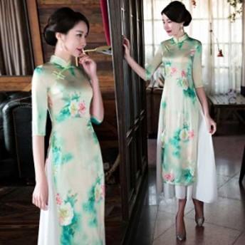 アオザイ ベトナム 民族風 ロングドレス 五分袖 スタンドネック ワンピース 二次会 デート 大きいサイズ S M L LL 3L 4L グリーン 緑