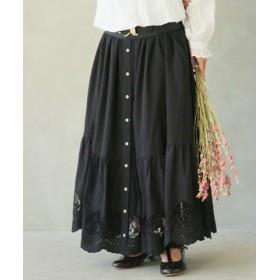 (osharewalker/オシャレウォーカー)somariスカラップレースロングスカート/レディース ブラック 送料無料