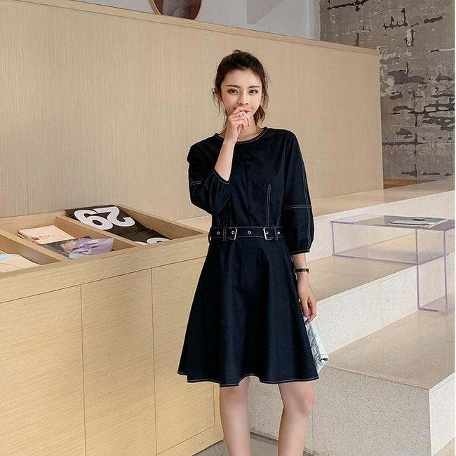 FOFU-連身裙復古熟女風純色收腰顯瘦七分袖連身裙【08G-M0958】