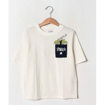 【40%OFF】 イッカ ポパイコラボ胸ポケTシャツ(120~160cm) レディース オフホワイト 130cm 【ikka】 【セール開催中】