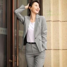 パンツスーツ 上下セット 春夏スーツ 女性 グレー ビジネススーツ オフィス 上品 レディース 韓国風おしゃれ 着痩せ 通勤 ピンク ストラ