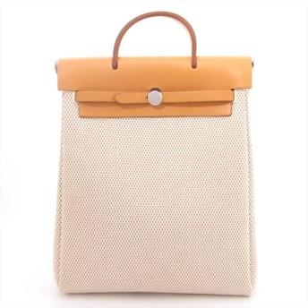 エルメス エールバッグアドPM トワルGM リュック ナチュラル シルバー金具 □H:2004年 替えバッグにシミあり