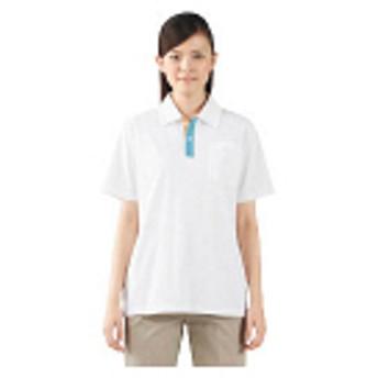 住商モンブラン ポロシャツ(男女兼用・半袖) 白×サックス×オレンジ M 72-418(直送品)