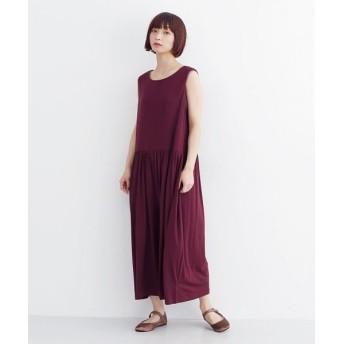 メルロー ギャザー切替ワイドパンツオールインワン レディース ワイン FREE 【merlot】