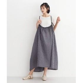 メルロー ギンガムチェック柄サスペンダーギャザージャンパースカート レディース ネイビー FREE 【merlot】