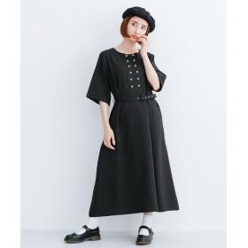 メルロー ダブルボタンワンピース レディース ブラック FREE 【merlot】