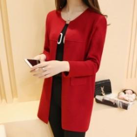 ジャケットの春と秋のドレス2019年のミッドロングゆるい学生ニットカーディガン女性のファッションの新しい韓国語版 red