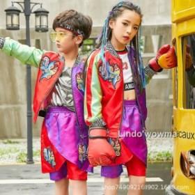 夏 子供服  男の子 女の子  演出用 舞台衣装 ダンサー 男女兼用 Hip hop ゆったり 上下セット ファッション