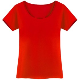 Nicellyer 女性ソリッドカラー半袖ベーシックラウンジ特大Tシャツトップ Red L