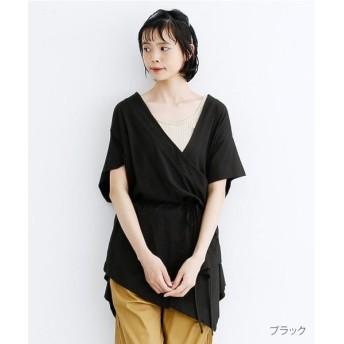 メルロー カシュクールコットンチュニック レディース ブラック FREE 【merlot】
