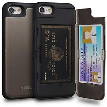 送料無料 iPhone8 ケース カード 収納背面 2枚 IC Suica カード入れ カバ― ミラー付き (アイフォン 8 / アイフォン 7 用) - ガンメ