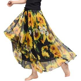 Elonglin 花柄 ロングスカート レディース ふんわり マキシスカート シフォンスカート ボヘミアン スカート 足首に ふわふわ かわいい 12タイプ 90cm