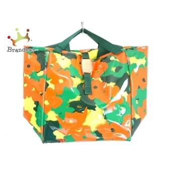 ミュベール MUVEIL トートバッグ グリーン×オレンジ×マルチ PVC(塩化ビニール)×化学繊維 値下げ 20190919