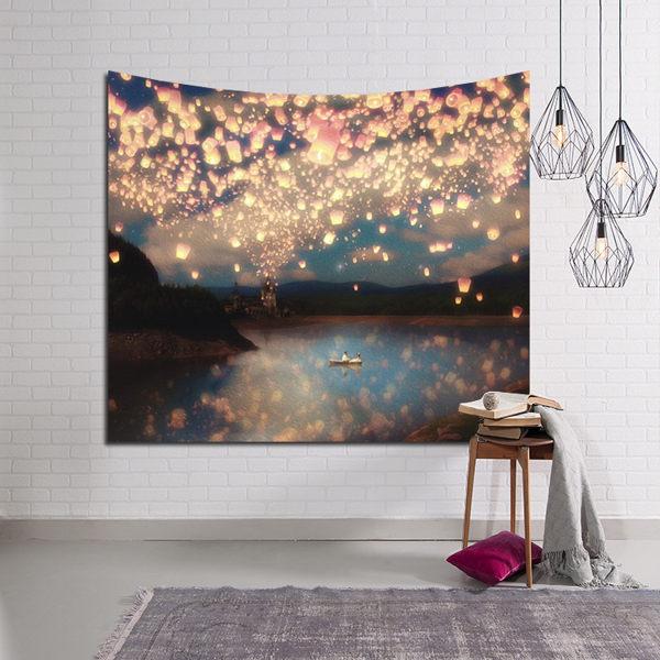 掛毯 3D立體數碼風景北歐ins掛布墻面背景裝飾畫布床頭沙發巾桌布 - 古梵希