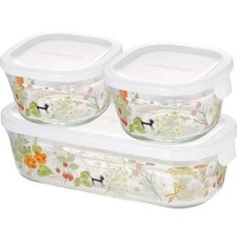 dポイントが貯まる・使える通販| iwaki シンジカトウ パック & レンジ 角型3点セット colorful herbs PS-PRNSNB3 (1セット) 【dショッピング】 保存容器 おすすめ価格