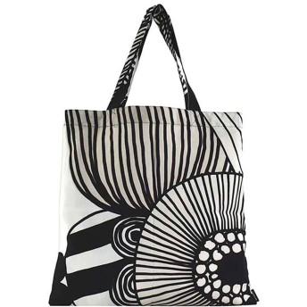 マリメッコ Marimekko SIIRTOLAPUUTARHA BAG (WHITE BLACK LIGHT BEIGE)