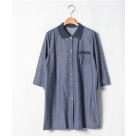 レリアンプラスハウス 【プラス企画】配色デザインシャツ(ブルー系)