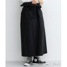 (merlot/メルロー)ウエスト折り返しラップ風スカート/レディース ブラック