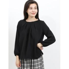 (TAKA-Q/タカキュー)衿タッククルーネック7分袖プルオーバー/レディース ブラック