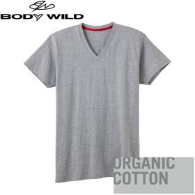 GUNZE グンゼ BODY WILD(ボディワイルド) VネックTシャツ(メンズ) ブラック M