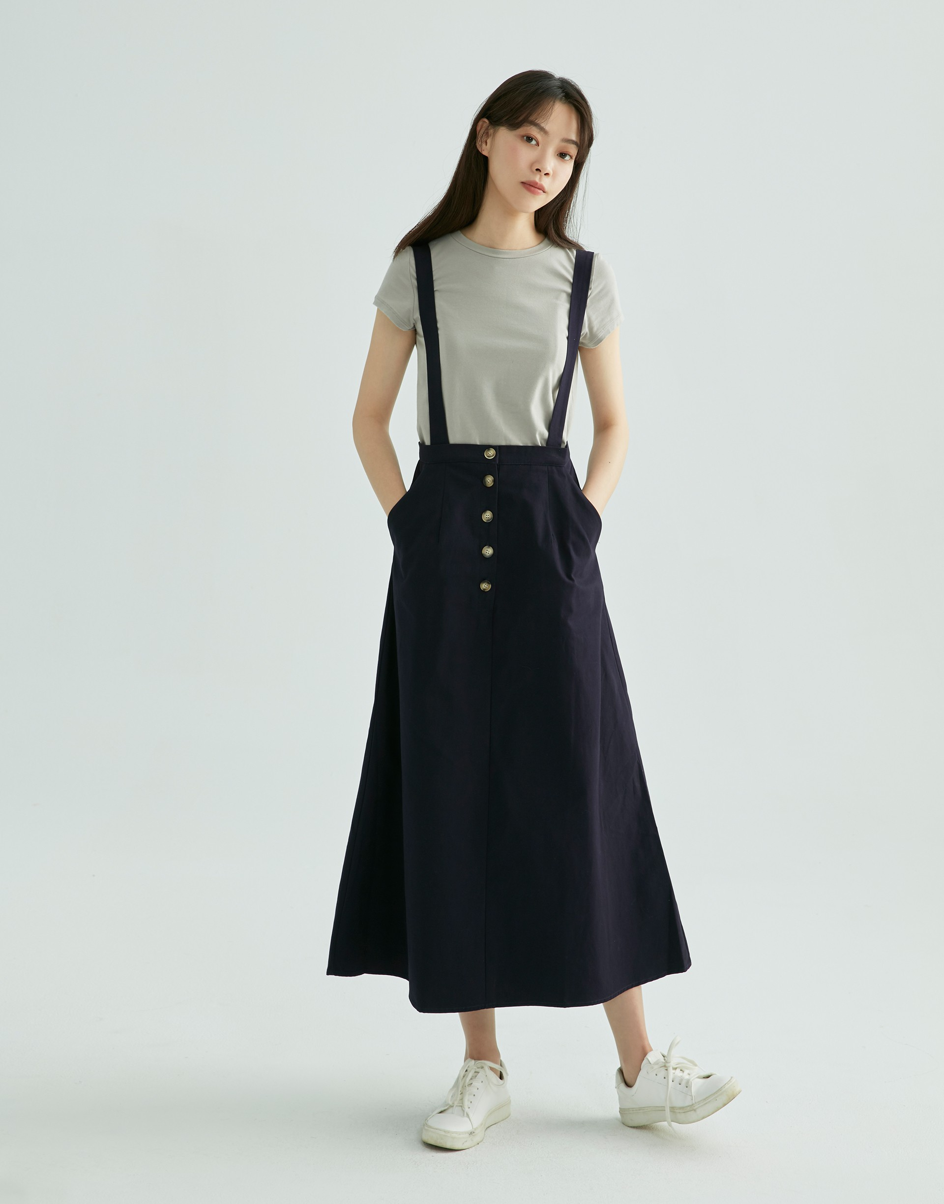 GENQUO+休閒排釦吊帶裙-女