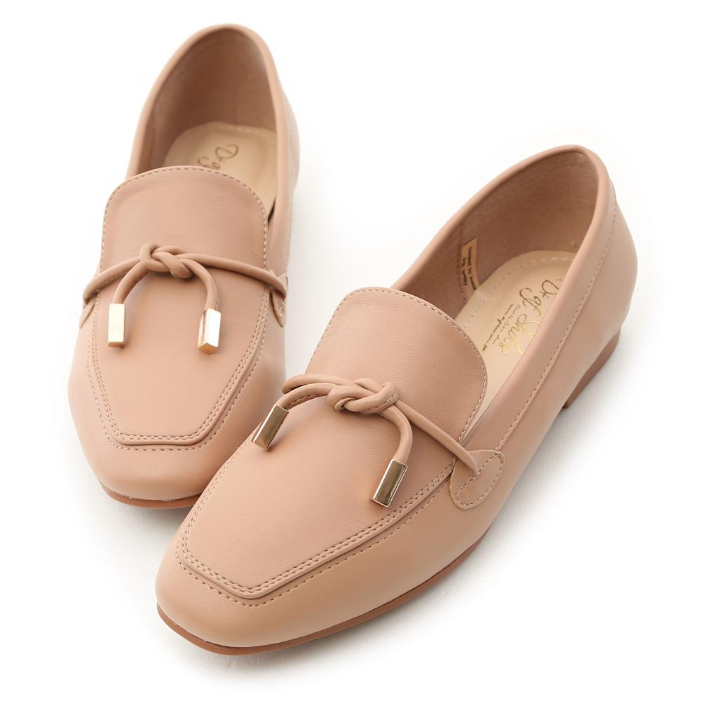 D+AF 好感輕著 小金飾綁結柔軟樂福鞋  粉杏