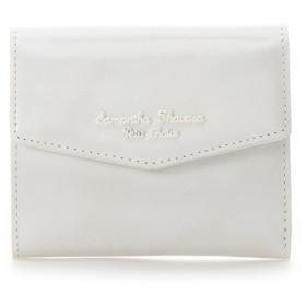 サマンサタバサプチチョイス アンティークガラスレザーシリーズ 折財布 ホワイト