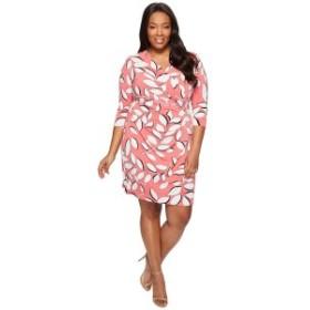アドリアナ パペル レディース ワンピース トップス Plus Size  V-Neck 3/4 Sleeve Wrap Dress Red Multi