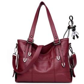 AINUOEY レディース バッグ Sling Shoulder Hand Bag for Women ハンド ショルダー PUレザー 肩掛け ミニ 斜めかけ トート 赤ワイン色