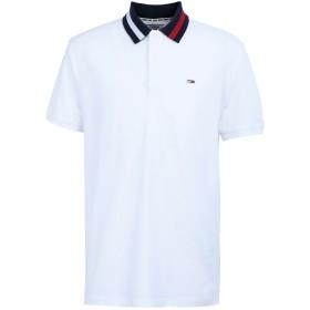 《期間限定セール開催中!》TOMMY JEANS メンズ ポロシャツ ホワイト S コットン 100% TJM FLAG NECK POLO