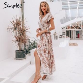 [2500TOPS×送料無料]ロングドレス サマードレス 花柄 半袖 ビーチ セクシー パーティードレス キャバドレス トップス