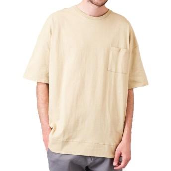 ビッグ Tシャツ メンズ カットソー ビッグTシャツ ワイド ポケット 半袖 無地T ビッグT ストリート 無地 ベージュ