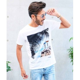 (JIGGYS SHOP/ジギーズショップ)SURFプリントTシャツ/Tシャツ メンズ ティーシャツ 半袖 クルーネック/メンズ ホワイト系1