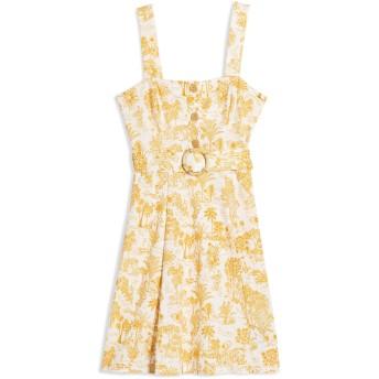 《9/20まで! 限定セール開催中》TOPSHOP レディース ミニワンピース&ドレス ホワイト 6 レーヨン 58% / ナイロン 42% Print Belted Dress